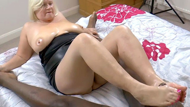 [GRANNYLOVESBLACK] - Lacey Starr - Grandma Strokes Lubed Cock With Feet (2021 / FullHD 1080p)